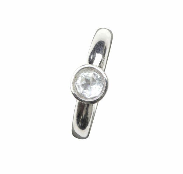 Ring glatt mit Aquamarin klein rund