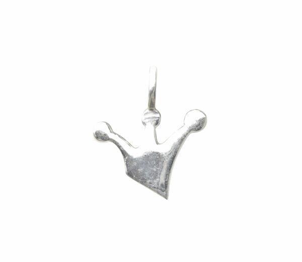 Silberanhänger Krone gebürstet hinten glatt