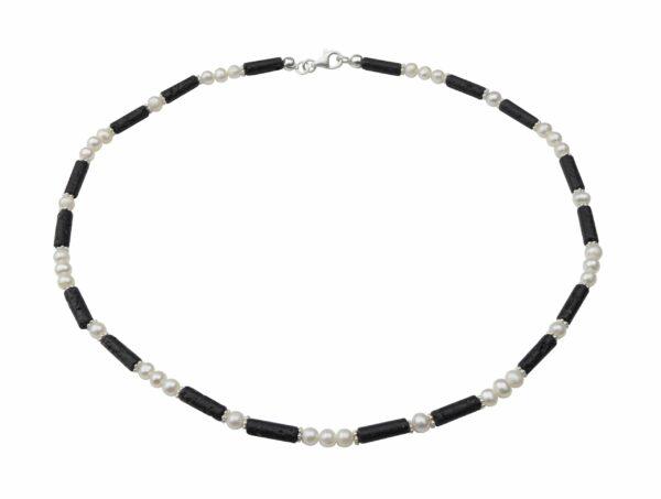Perlenkette mit Lavastiften dazu Silberplättchen und Silberverschluss handgemachtes Unikat