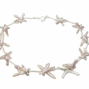 Perlen Rosa mit gebürstetem Silber