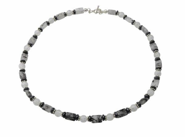 Bergkristall, Hämatit, Turmalinquarz Kette mit Silberplättchen und Silberverschluss handgemachtes Unikat