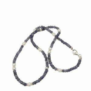 Saphirsplitterkette mit Perlen und Silber