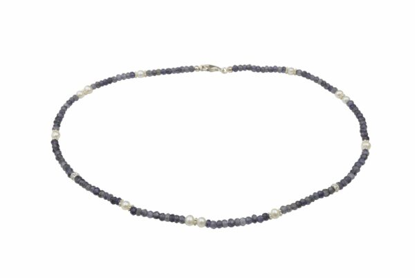 Amethystkette mit Perlen mit Silberteilen und Silberverschluss handgemachtes Unikat