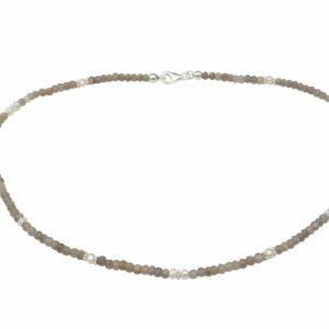 Rauchquarzkette mit Perlen und Silber