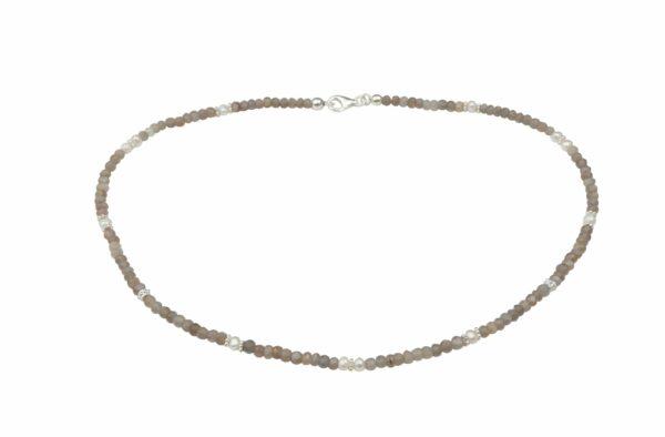 Rauchquarzkette mit Perlen dazu Silberplättchen und Silberverschluss handgemachtes Unikat