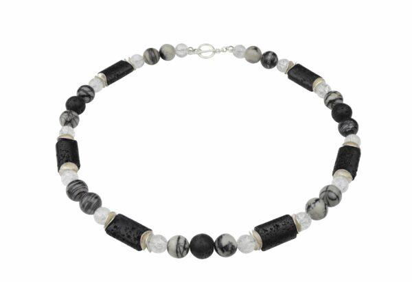 Streifenjaspis-Lava-Bergkristallkette mit Silberplättchen und Silberverschluss handgemachtes Unikat