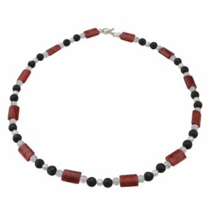 Lava-Korallen-Bergkristall-Perlenkette mit Silberverschluss handgemachtes Unikat
