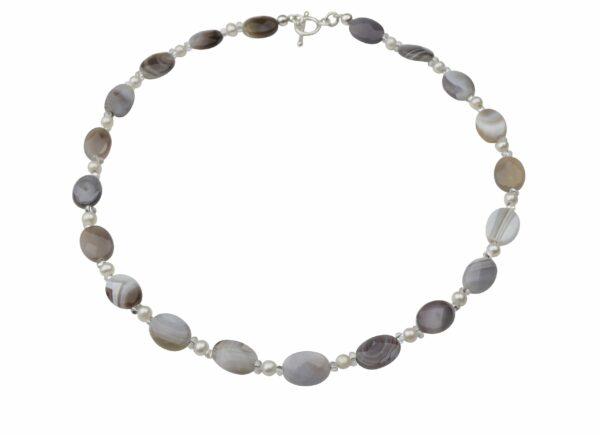 Achat-Perlenkette mit Silberverschluss handgemachtes Unikat