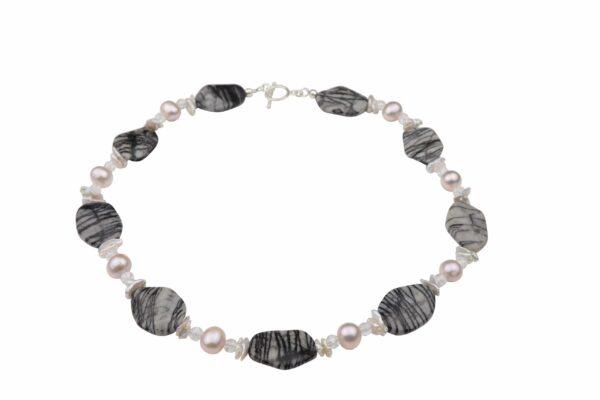 Streifenjaspis-Bergkristallkette mit Perlen weiß/rosa und Silberverschluss handgemachtes Unikat