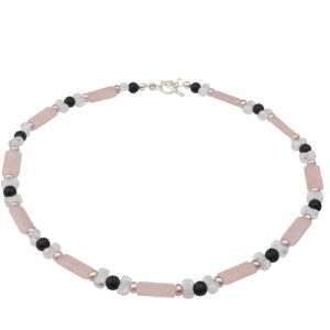 Rosenquarz, Bergkristall, Lava und rosa Perlenkette