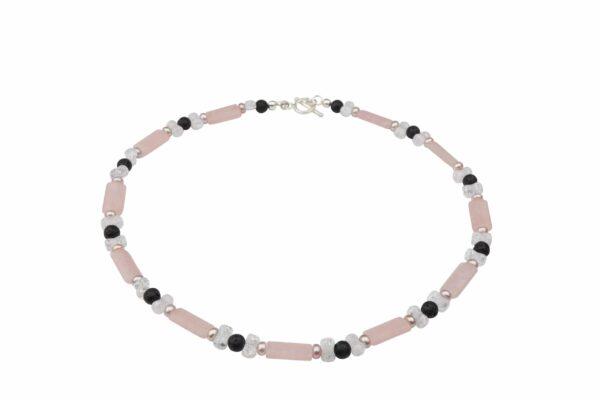 RosenquarzBergkristall Lava und rosa Perlenkette mit Silberverschluss handgemachtes Unikat