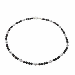 Lava Perlenkette mit Silber und grauen Perlen