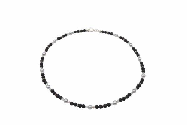 Lavaperlenkette mit Silberplättchen und grauen Perlen dazu Silberverschluss handgemachtes Unikat