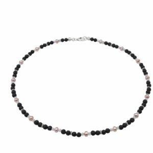 Lavaperlenkette mit Silber und rosa Perlen