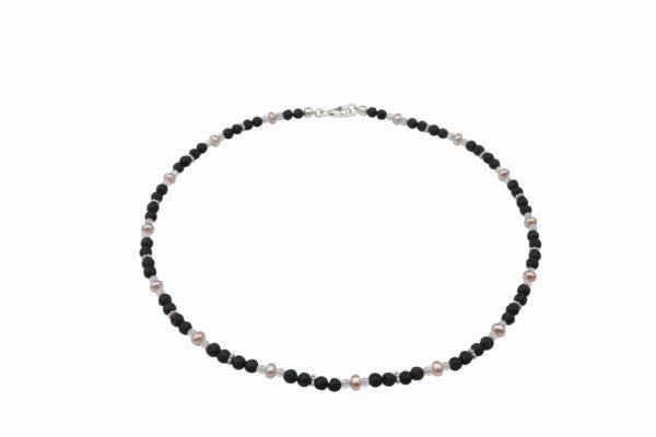 Lavaperlenkette mit Silberplättchen und rosa Perlen dazu Silberverschluss handgemachtes Unikat