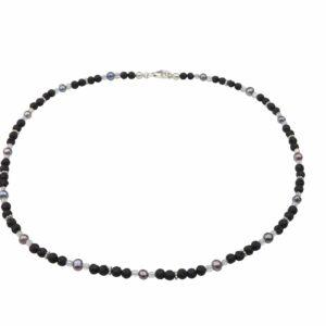 Lavaperlenkette mit Silber und dunkelgrauen Perlen
