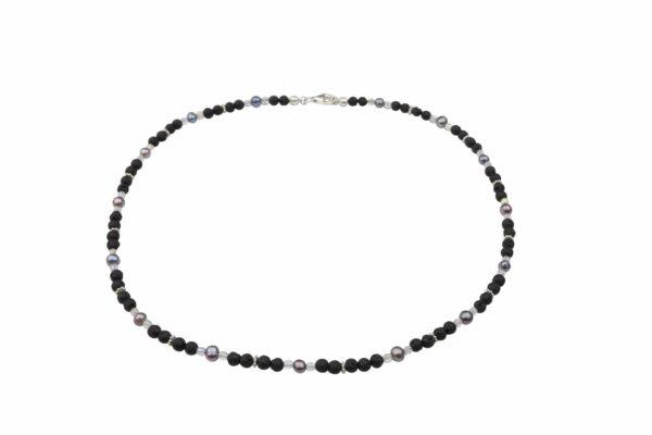 Lavaperlenkette mit Silberplättchen und dunkelgrauen Perlen dazu Silberverschluss handgemachtes Unikat