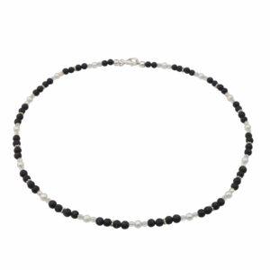 Lavaperlenkette mit Silber und weißen Perlen