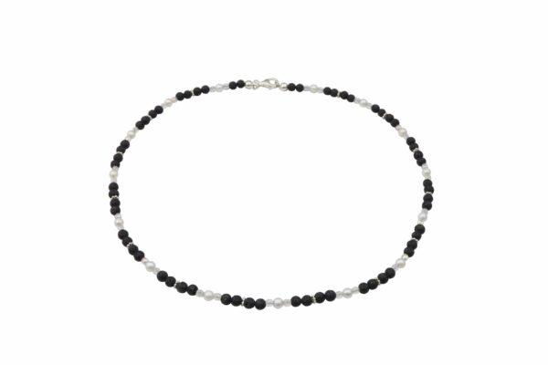 Lavaperlenkette mit Silberplättchen und weißen Perlen dazu Silberverschluss handgemachtes Unikat