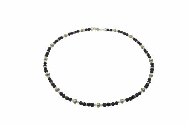 Lavaperlenkette mit Silberplättchen und grünen Perlen dazu Silberschluss handgemachtes Unikat