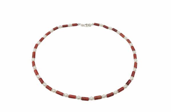 Korallenkette mit Perlen und Silberplättchen dazu Silberverschluss handgemachtes Unikat