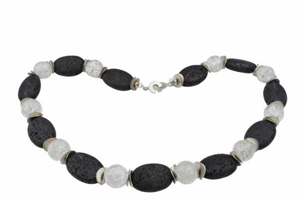 LavaBergkristallkette mit Silberplättchen und Silberverschluss handgemachtes Unikat