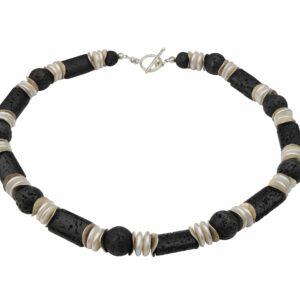 Perlenkette mit Lava und Silber