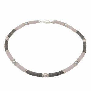 Rosenquarz, Hornkette mit Silber und grauen & rosa Perlen