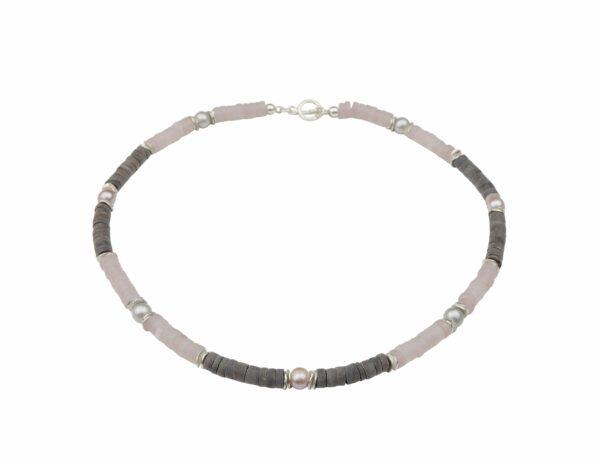 Rosenquarz Hornkette mit Silberplättchen und Grau/Rosa Perlen dazu Silberverschluss handgemachtes Unikat