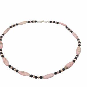 Rhodonit Kette mit Lava und rosa Perlen