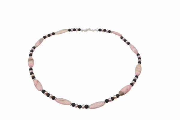 Rhodonit Schläuche mit Lava+Rosa-Perlen Kette und Silberverschluss handgemachtes Unikat