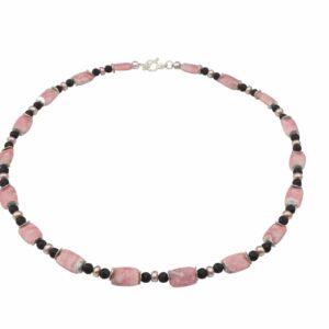 Rhodonit mit Lava, Rosa Perlen und Silber