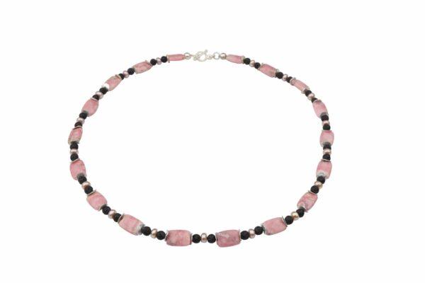 Rhodonit Platten mit Lava+Rosa-Perlenkette und Silberplättchen dazu Silberverschluss handgemachtes Unikat