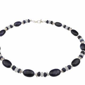 Dumortierit Bergkristallkette mit weißen Perlen und Silber