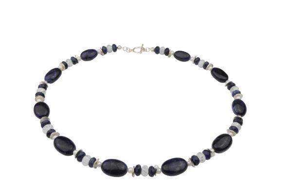 Dumortierit Bergkristallkette mit weißen Perlen und Silberplättchen dazu Silberverschluss handgemachtes Unikat