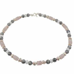 Rosenquarz, Jaspis und Bergkristall mit rosa Perlen und Silber