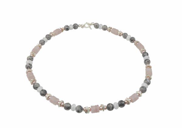 Rosenquarz Jasperkugeln Kette und Bergkristall mit rosa Perlen und Silberplättchen sowie Silberverschluss handgemachtes Unikat