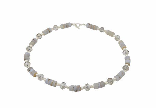 graue Achatkette mit Perlen und geschliffenem Glas sowie Silberverschluss handgemachtes Unikat