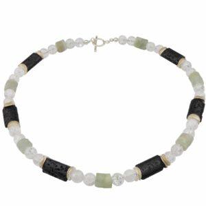 Bergkristall-Jade-Lava Kette mit Silberplättchen