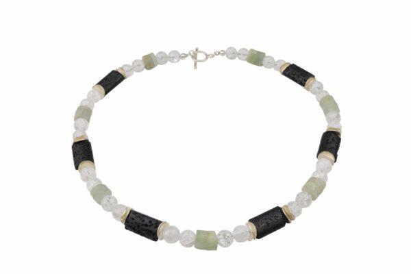 Bergkristall-Jade-Lava Kette mit Silberplättchen und Silberverschluss handgemachtes Unikat
