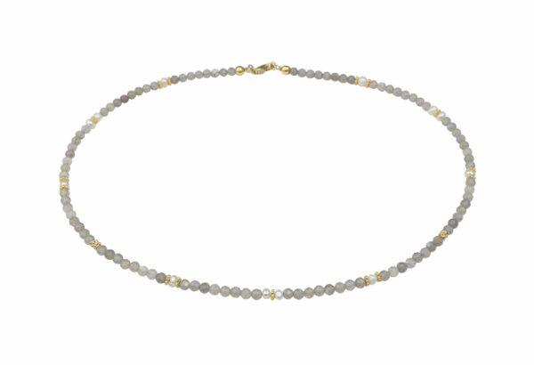 Labradoritkette mit Perlen Silber vergoldet handgemachtes Unikat