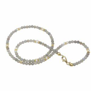 Labradoritkette mit Perlen und vergoldetem Silber