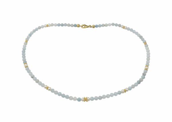 Aquamarinkette mit Perlen Silber vergoldet handgemachtes Unikat