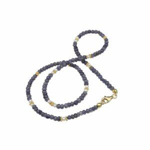 Saphirsplitterkette mit Perlen und vergoldetem Silber