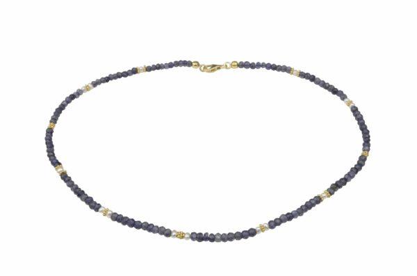 Amethystkette mit Perlen Silber vergoldet handgemachtes Unikat