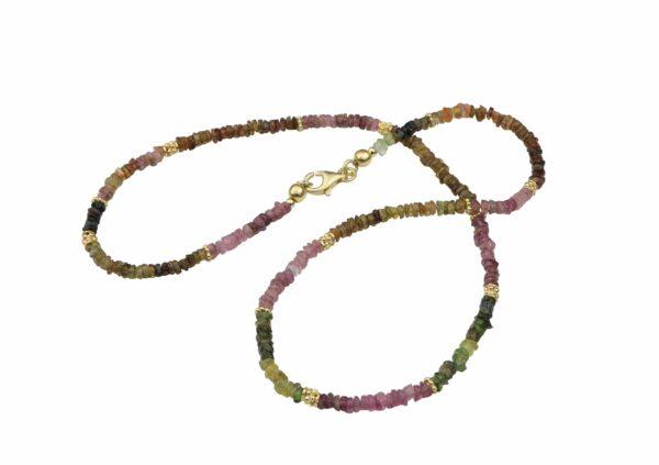 Turmalinkette mit Perlen Silber vergoldet handgemachtes Unikat