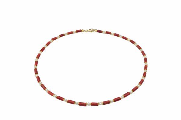 Korallenkette schmal mit Perlen und Goldplättchen Silber vergoldet handgemachtes Unikat