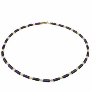 Lapislazuli mit weißen Perlen und vergoldetem Silber