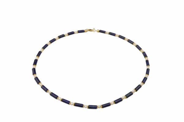 Lapislazuliröhren mit weißen Perlen und vergoldeten Plättchen Kette handgemachte Unikat