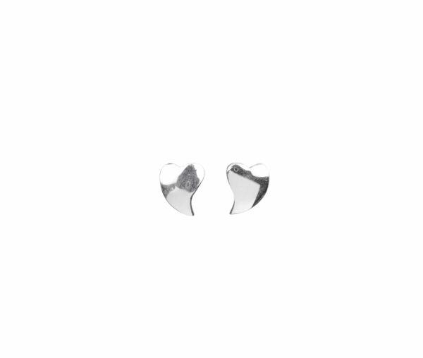 Silberohrstecker unförmiges Herz glatt quer